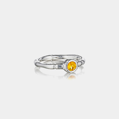 Sterling Silver And Citrine Bamboo Stacking Ring