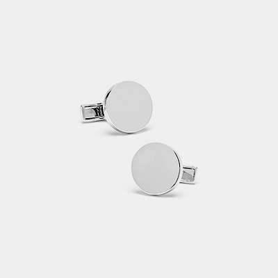Sterling Silver Engravable Round Cufflinks