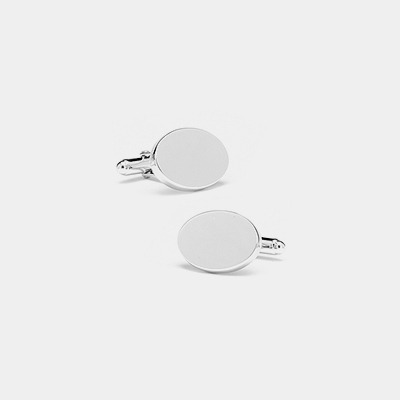 Sterling Silver Engravable Oval Cufflinks