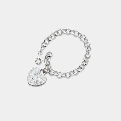 Silver Heart Charm Link Bracelet