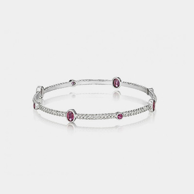 Sterling Silver And Amethyst Bangle
