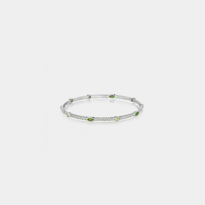 Sterling Silver And Peridot Stackable Bangle