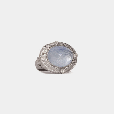 Kyanite/White Quartz dia ring