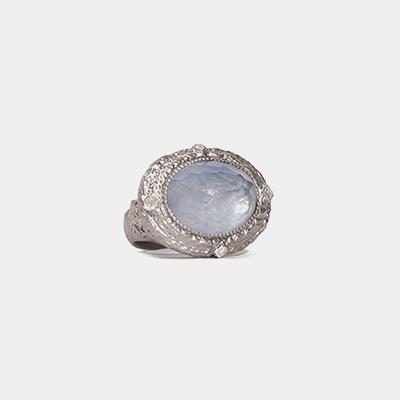 Kyanite/White Quartz dia ring