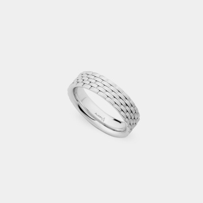14kt Brushed Link Wedding Ring