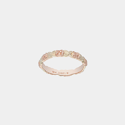 14k Gold Wedding Band With Pink And Green Flowers