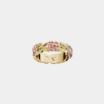 14k Pink And Green Gold Wedding Band