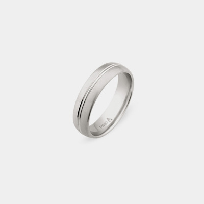 Platinum Satin Center Line Wedding Ring