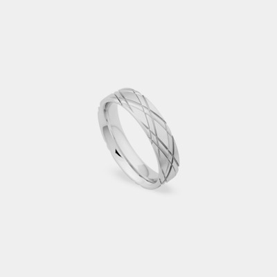 Palladium Thin Quilted Wedding Ring