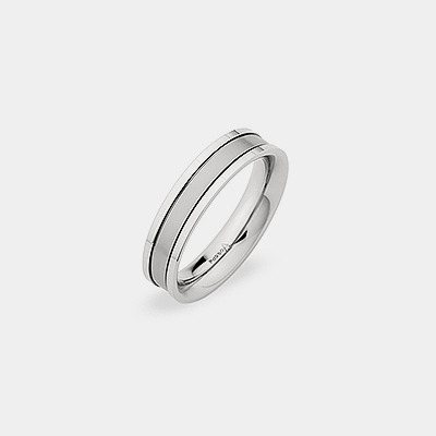 Palladium Plain Polished And Brushed Stripe Wedding Ring