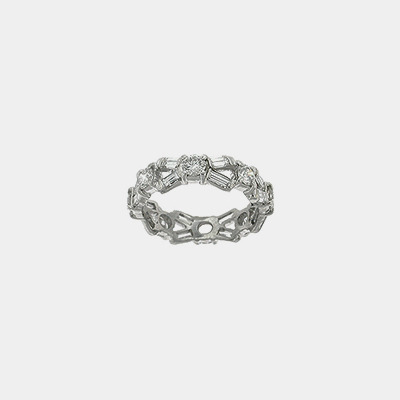 Platinum Round & Baguette Diamond Wedding Ring