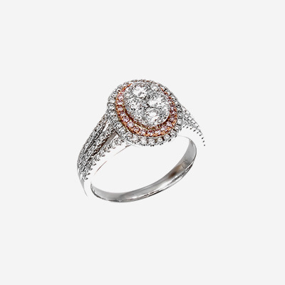 18K Pink and White Diamond Engagement Ring