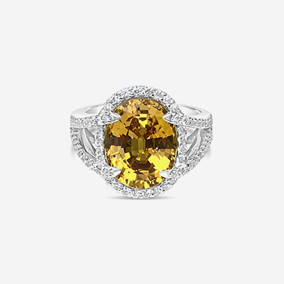 18kt Yellow Sapphire and Double Diamond Halo Ring