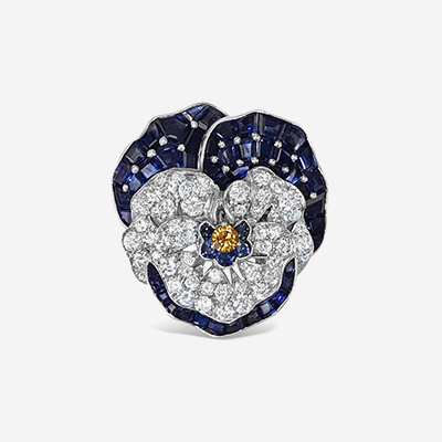 Platinum Diamond and Sapphire Pansy Pin