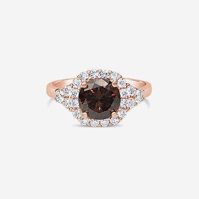 14KT FANCY BROWN DIAMOND HALO RING