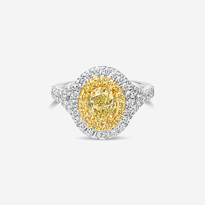 18kt yellow diamond double halo engagement ring