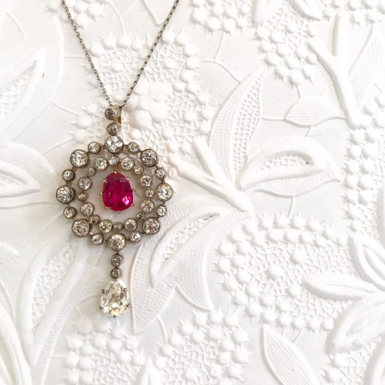 EB HORN 14KT AND SILVER DIAMOND AND RUBY PENDANT