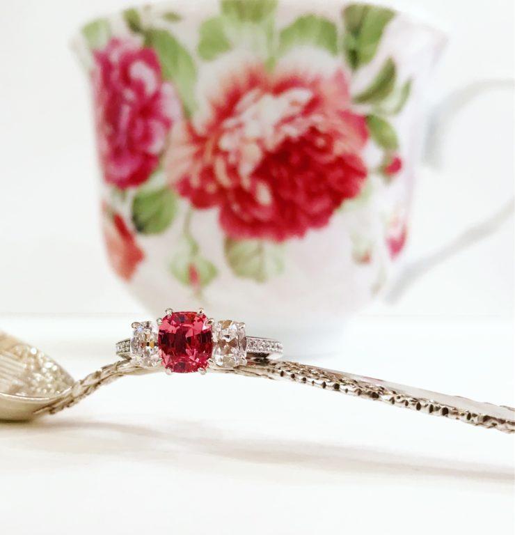 platinum padparadscha sapphire diamond ring