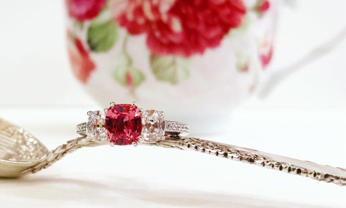 PLATINUM PADPARADSCHA SAPPHIRE AND DIAMOND RING