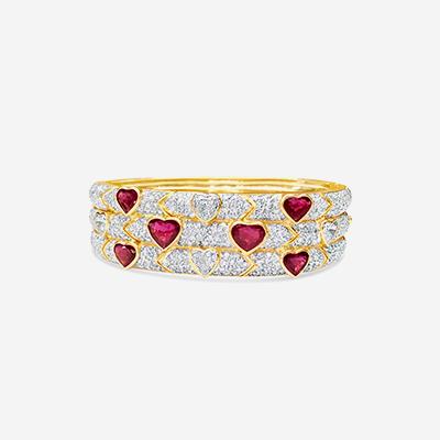 18kt ruby and diamond bangle bracelet