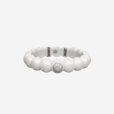 White Ceramic Diamond Bangle Bracelet