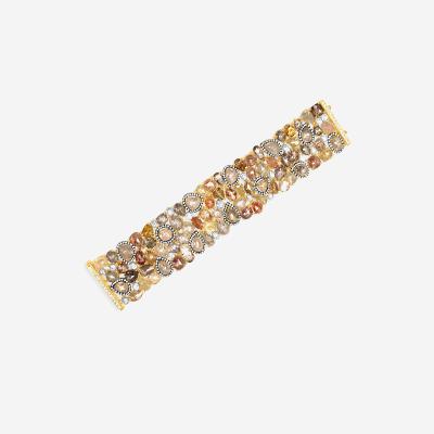 18Kt multi-color wide diamond bracelet
