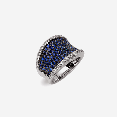 18kt sapphire pave and diamond ring