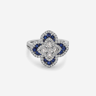 18kt sapphire and diamond flower ring