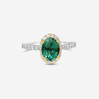 14kt oval green tourmaline and diamond halo ring