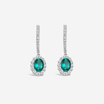 18kt diamond and emerald drop earrings