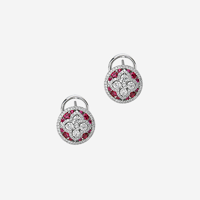 18kt ruby and diamond round earrings