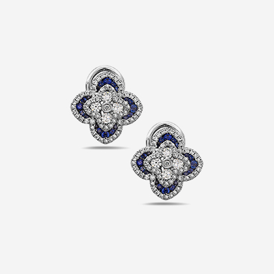 18kt sapphire and diamond flower earrings