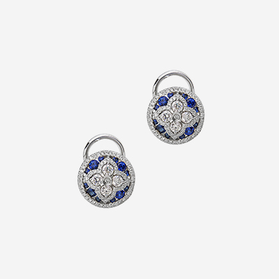 18kt sapphire and diamond round earrings