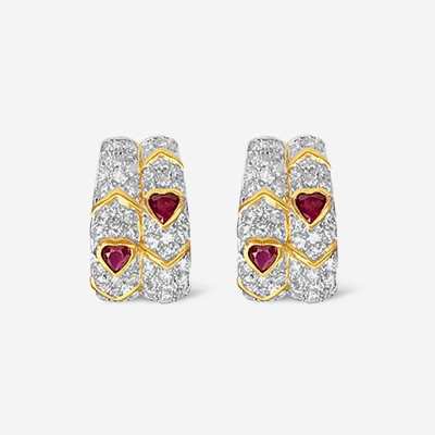 18kt ruby and diamond earrings