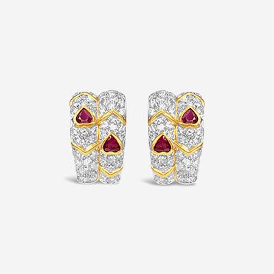 18kt ruby and diamond earrings