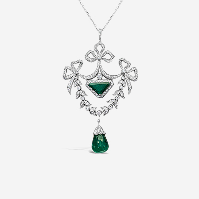 18kt antique emerald and diamond necklace