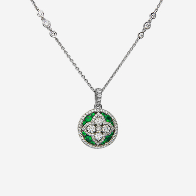 18kt emerald and diamond circle pendant