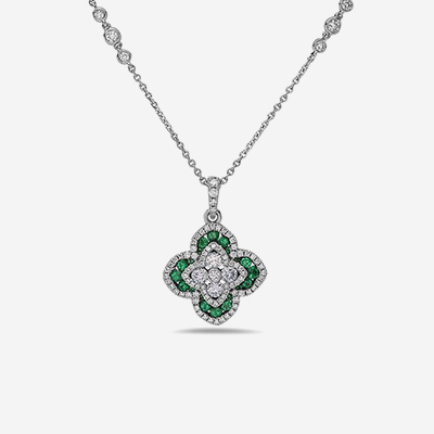 18kt emerald and diamond flower pendant