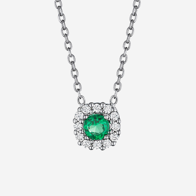 14kt emerald and diamond pendant