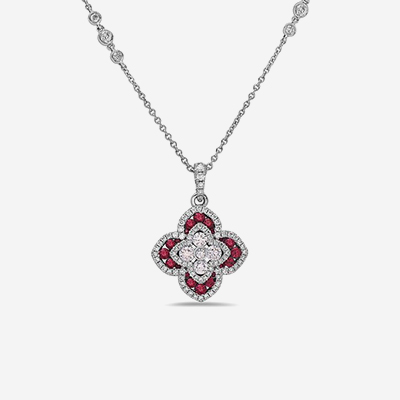 18kt ruby and diamond flower pendant