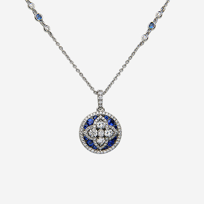 18kt sapphire and diamond circle pendant