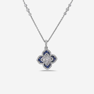 18kt sapphire and diamond flower pendant