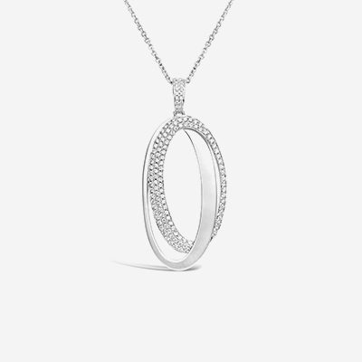 18kt double oval diamond pendant
