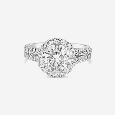 18kt diamond double shank engagement ring