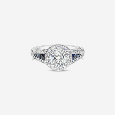 18kt diamond and sapphire engagement ring