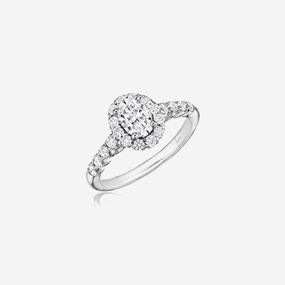 14kt diamond pave shank with halo engagement ring