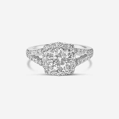 18kt split shank diamond halo engagement ring