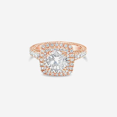 18kt center pave diamond engagement ring