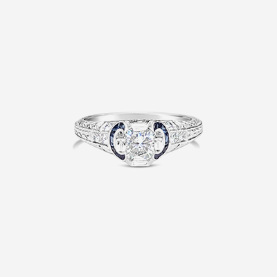 14kt center diamond sapphire engagement ring