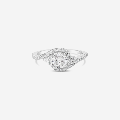 14kt round center pave diamond engagement ring